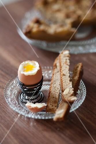 Soft-boiled egg with chestnut flour bread fingers