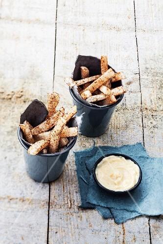 White asparagus fries,garlic cream