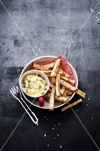 Celeriac fries ,caper and gherkin mayonnaise