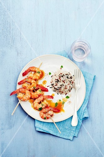 King prawn skewers with passionfruit vinaigar,mixed rice