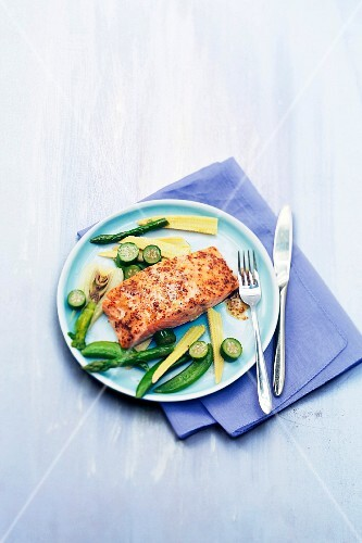Salmon steak with seedy mustard ,steamed green vegetables
