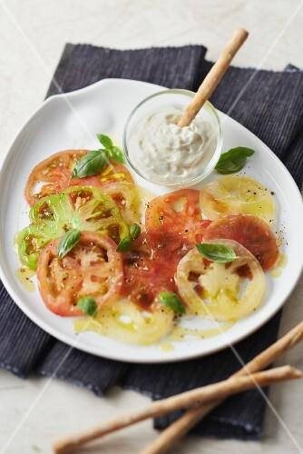 Tomato carpaccio with parmesan whipped cream