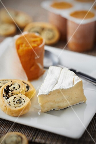 Camembert and sweet potato Petit-suisse,poppyseed Palmiers