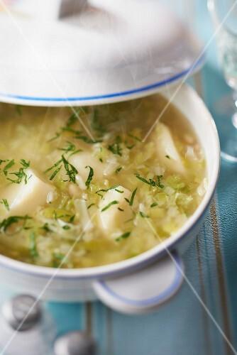 Potato,cabbage,leek and white haricot bean soup