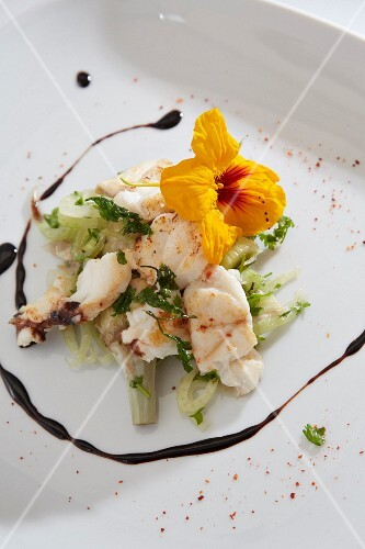 Lobster with fennel and zucchini flowers