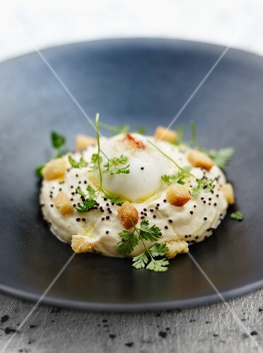Hard-boiled egg with mayonnaise espuma,bread croutons and squash seeds