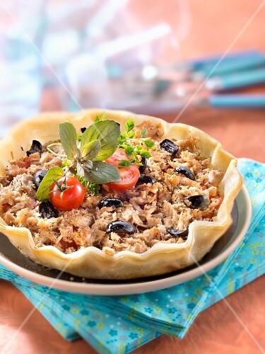 Tuna,olive,and tomato filo pastry tart
