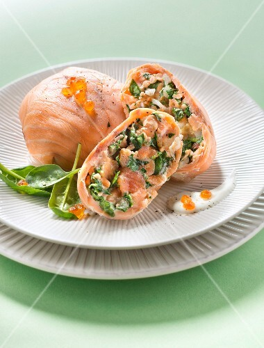 Salmon and spinach Paupiettes