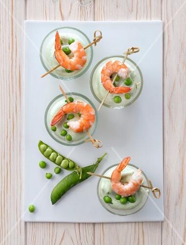 Pea mousse with shrimps