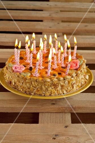 Moka Birthday cake with candles