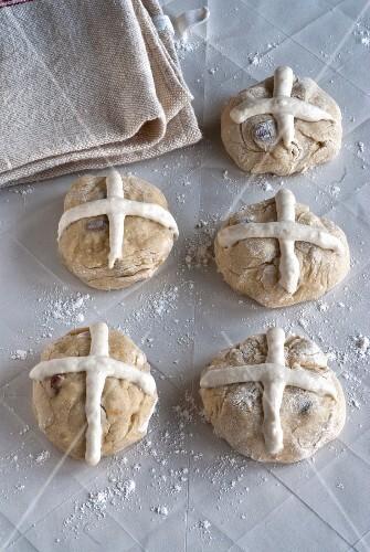 Preparing hot cross buns