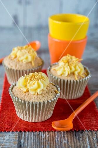 Cupcakes sprinkled with sugar vermicellis