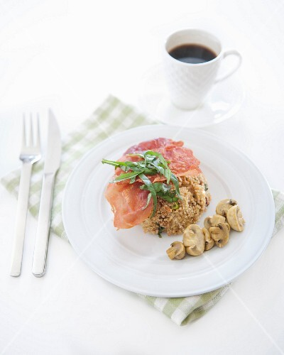 Quinoa timbale with grilled bacon and button mushrooms