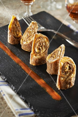 Petit Breton and carrot rolled galettes,cherry syrup