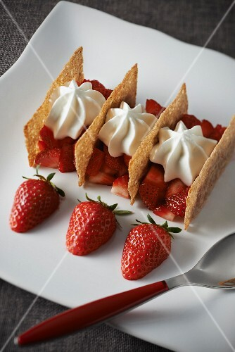 Revisited Plougastel strawberry and buckwheat crisp Mille-feuille