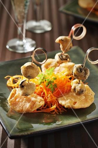 Snail,butternut squash and kari gosse tempuras