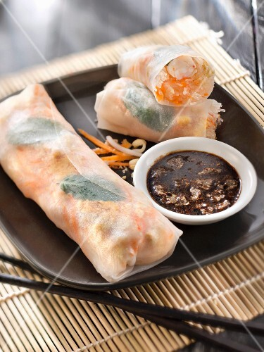 Shrimp spring rolls,soya sauce with Tuc crumbs