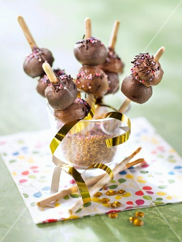 Mikado,dark and milk chocolate truffle brochettes