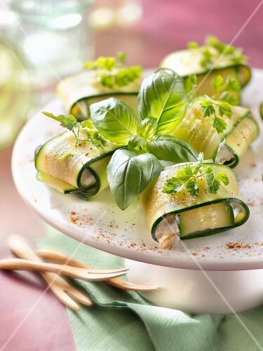 Zucchini squares stuffed with ricotta