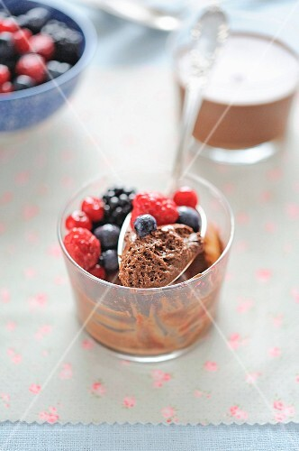 Chocolate mousse and summer fruit