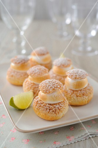 Lemon meringue cream puffs