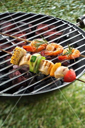 Shrimp-chicken skewers on the barbecue