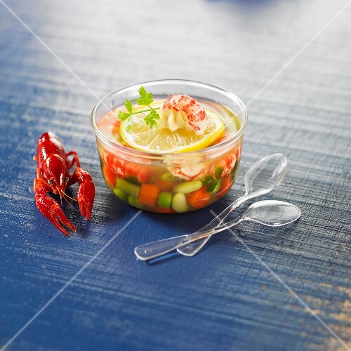 Diced vegetables and crayfish in aspic