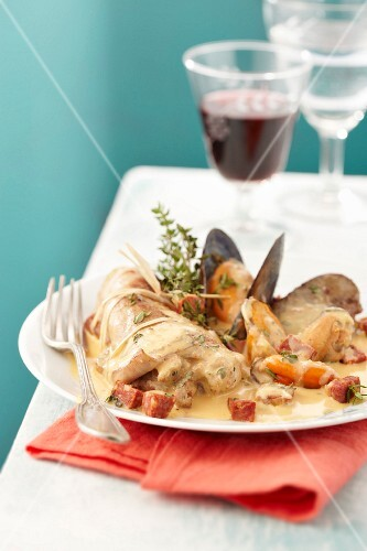 Rabbit with mussels and chorizo