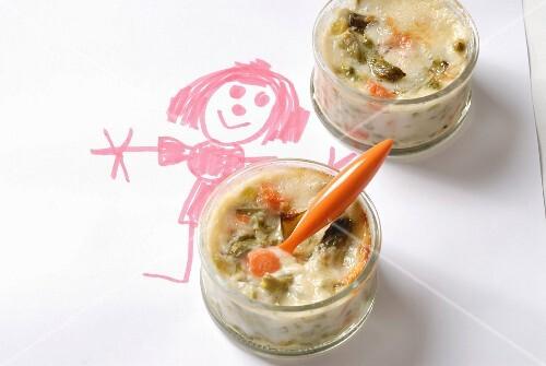 Vegetable gratin in glass