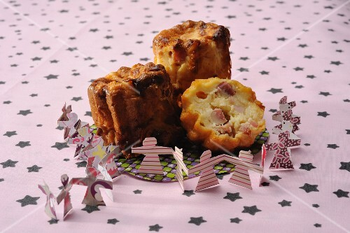 Three savoury cannelés (mini cakes from Lyon)