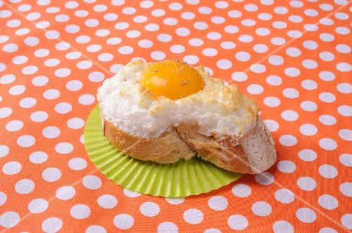A slices of white bread topped with fluffy egg