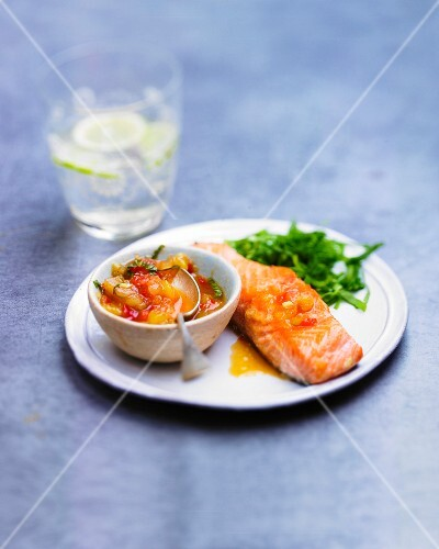 Grilled salmon with mango chutney,glass of rum