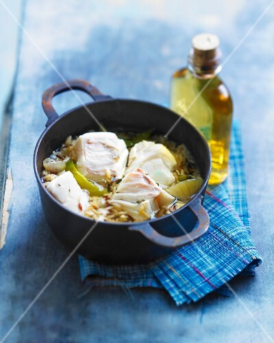 Rice,cod and rum casserole