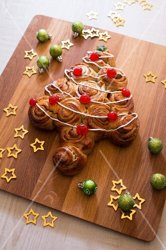 Cinnamon and candied cherry milk bread Christmas tree