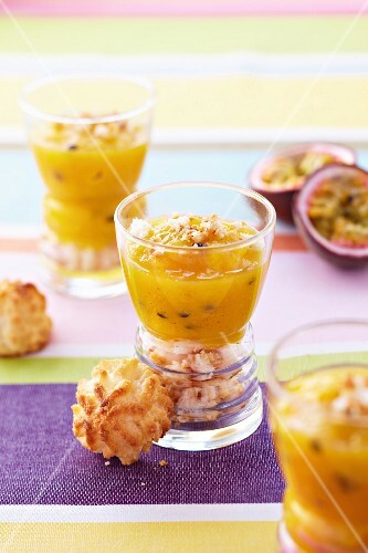 Stewed exotic fruit on crumbled coconut cookies