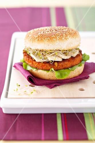 Soya-vegetable steak and tofu burger