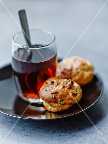 Mini gorgonzola and walnut savoury choux pastries
