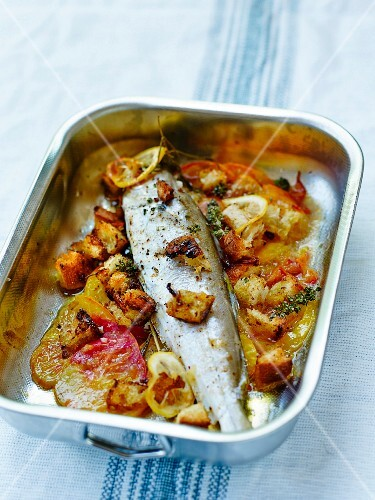 Fresh water whiting with pineapple tomatoes and parmesan