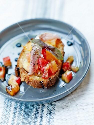 Fresh sardine ,pineapple tomato and red basil Bruschetta