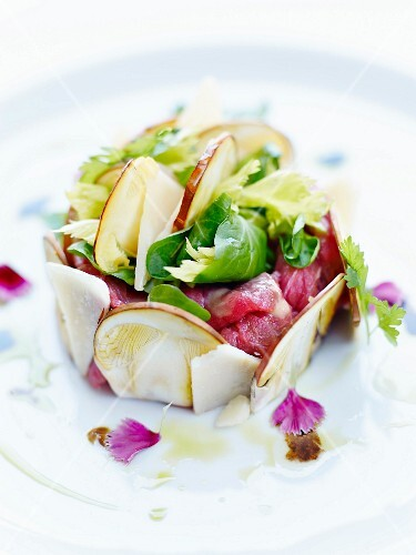 Red tuna tartare surrounded with thinly sliced mushrooms,lettuce and parmesan