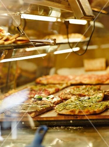 Pizza in a shop window