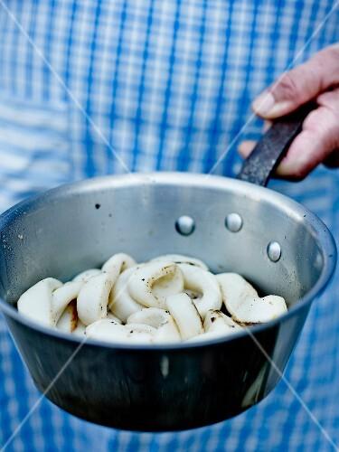 Saucepan of squid rings