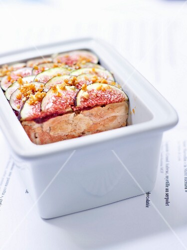 Monkfish liver and mixed fig jam terrine topped with crushed caramel pine nuts