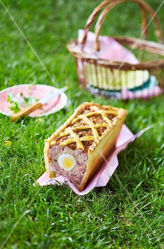 An Easter meat loaf on the grass
