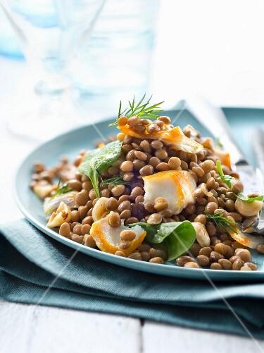 Gluten-free lentil,haddock,baby spinach leaf and hazelnut salad