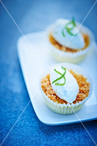 Mini lemon crumbles topped with lime ice cream quenelles