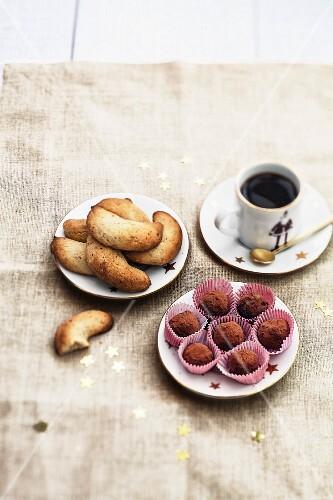 Chocolate truffles and small crunchy hazelnut croissants