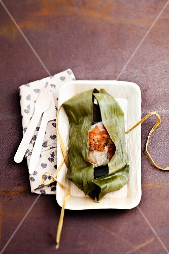Threadfin cooked in a banana leaf