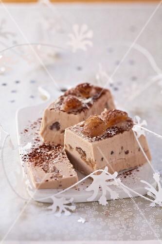Chestnut ice cream log