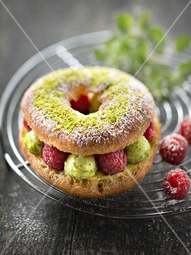 Pistachio,raspberry and basil Paris-Brest